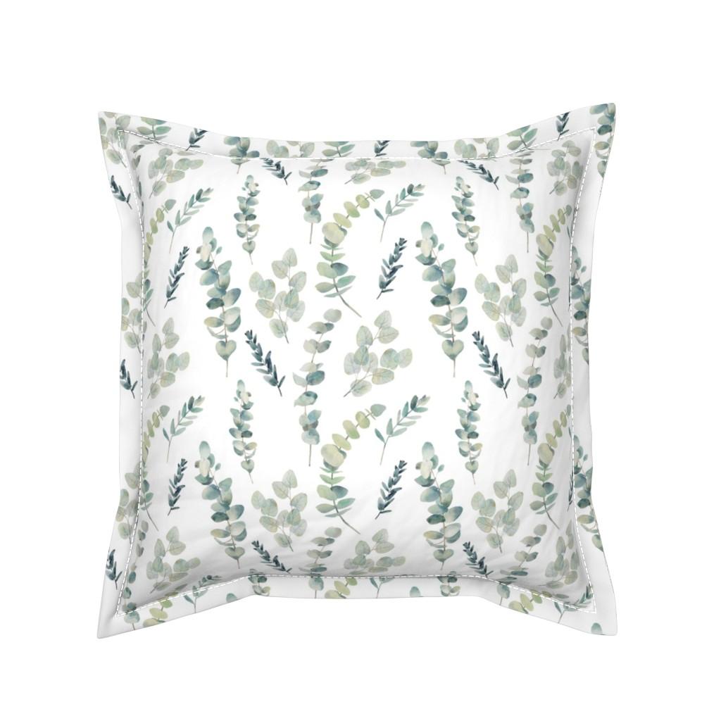 Serama Throw Pillow featuring Silver Dollar Eucalyptus by hipkiddesigns