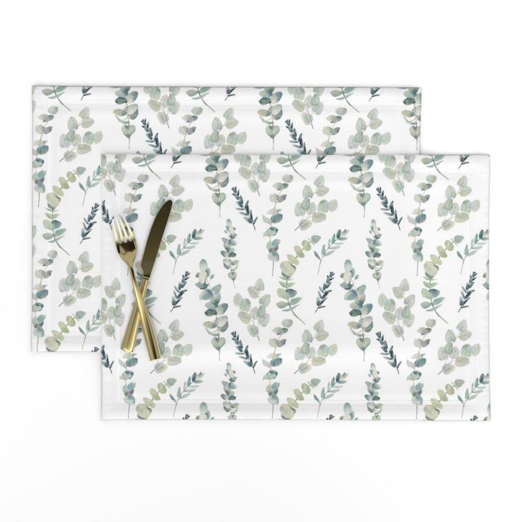 Lamona Cloth Placemats featuring Silver Dollar Eucalyptus by hipkiddesigns