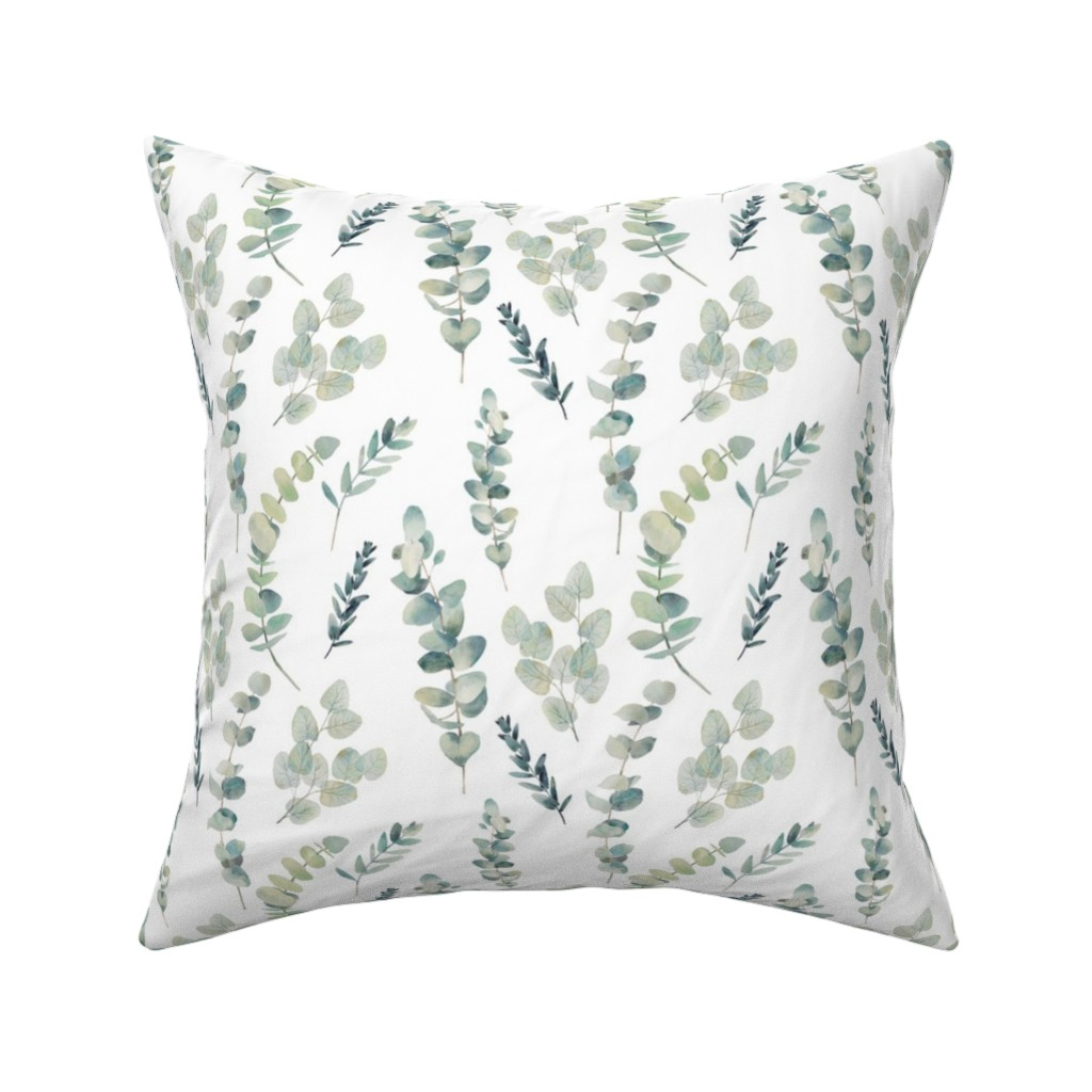 Catalan Throw Pillow featuring Silver Dollar Eucalyptus by hipkiddesigns