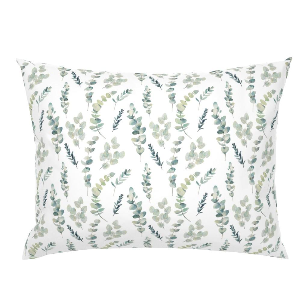 Campine Pillow Sham featuring Silver Dollar Eucalyptus by hipkiddesigns