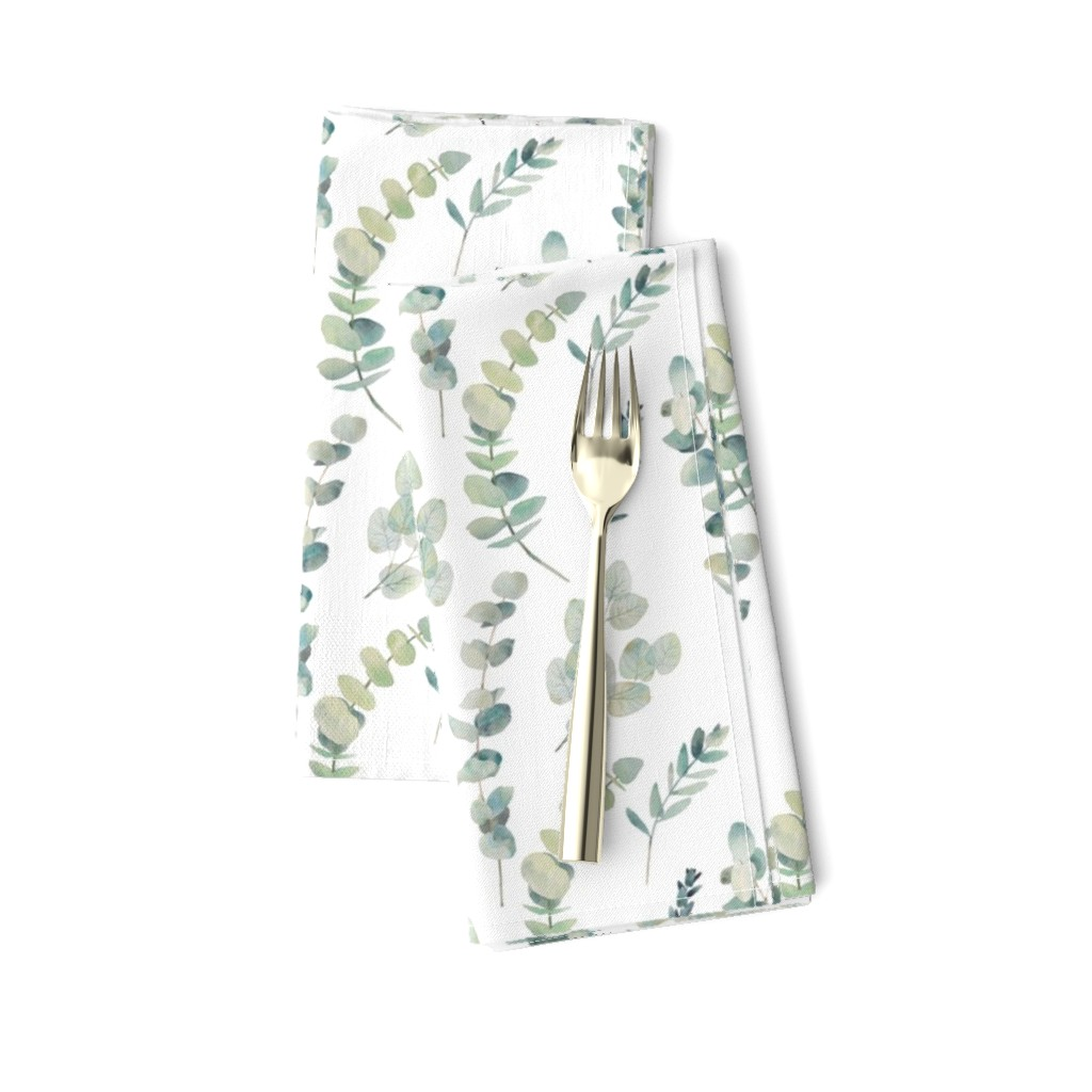 Amarela Dinner Napkins featuring Silver Dollar Eucalyptus by hipkiddesigns