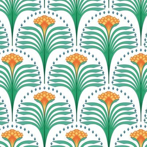 art deco flower in orange with green leaves