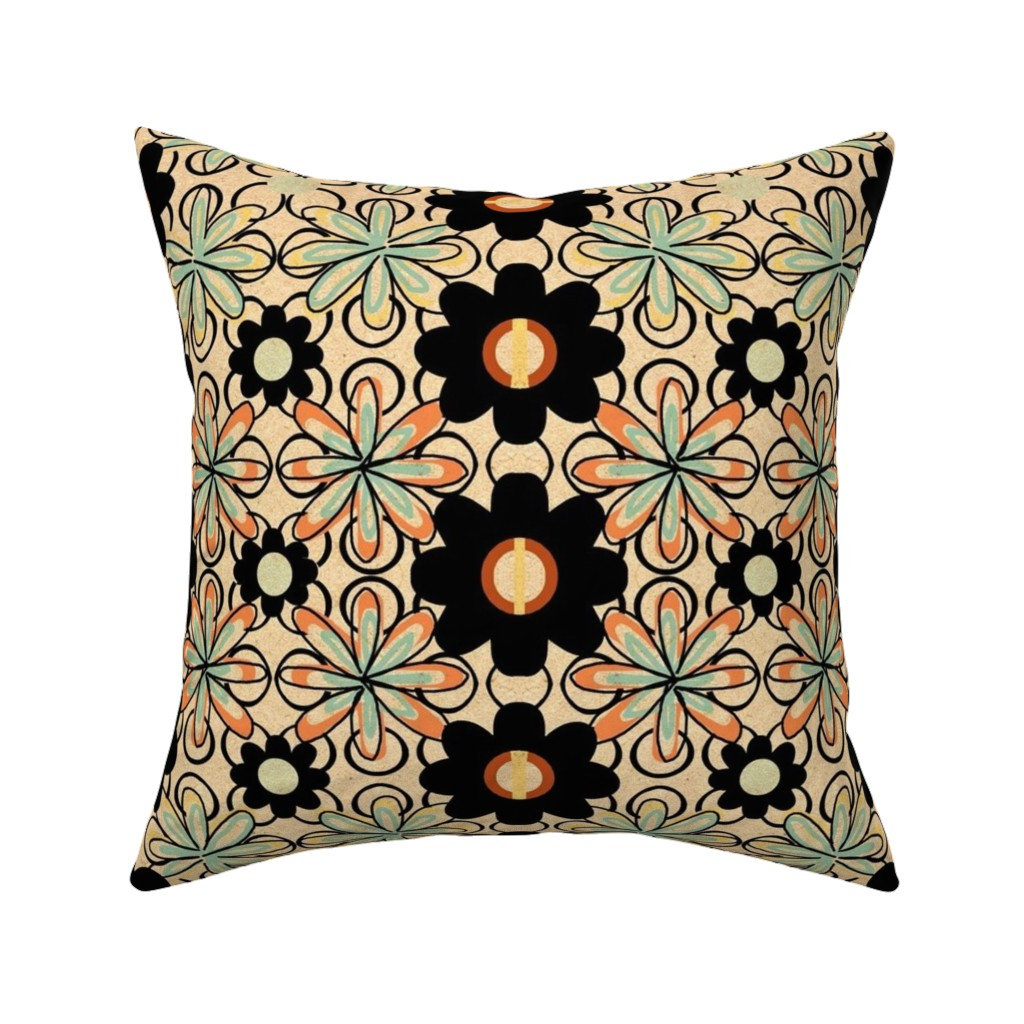 Catalan Throw Pillow featuring Yester Garden Retro /tan/orange/aqua blue by franbail