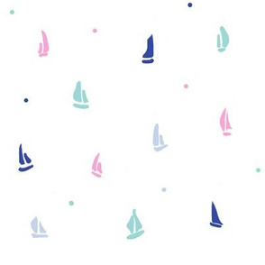 little sail boats//sailing. sailboat design fabric, ocean