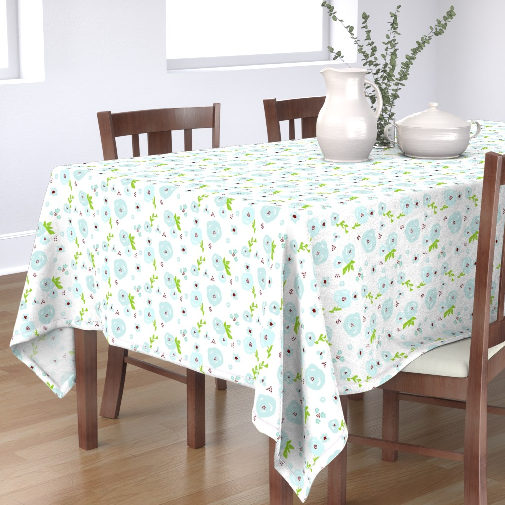 Bantam Rectangular Tablecloth featuring blue passion X LG 7 garden flowers on white by drapestudio