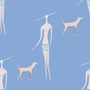 walking the dog//ladies chic, teens fabric blue, nautical