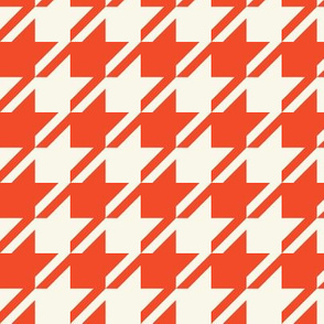 Houndstooth - Red, Ivory
