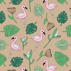 Cute tropical floral  jungle and flamingo birds pattern beige