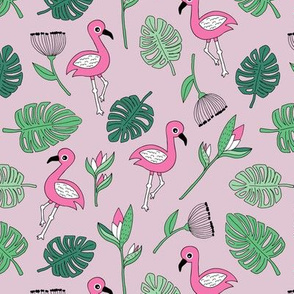 Cute tropical floral  jungle and flamingo birds pattern pink lilac