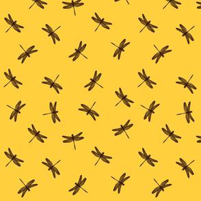 Dancing Dragonflies Brown On Yellow
