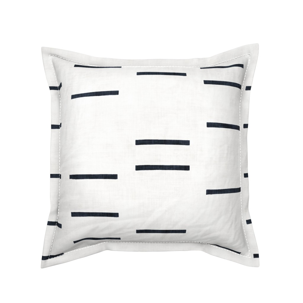 Serama Throw Pillow featuring DENIM LINE WHITE MUDCLOTH ROTATED by holli_zollinger