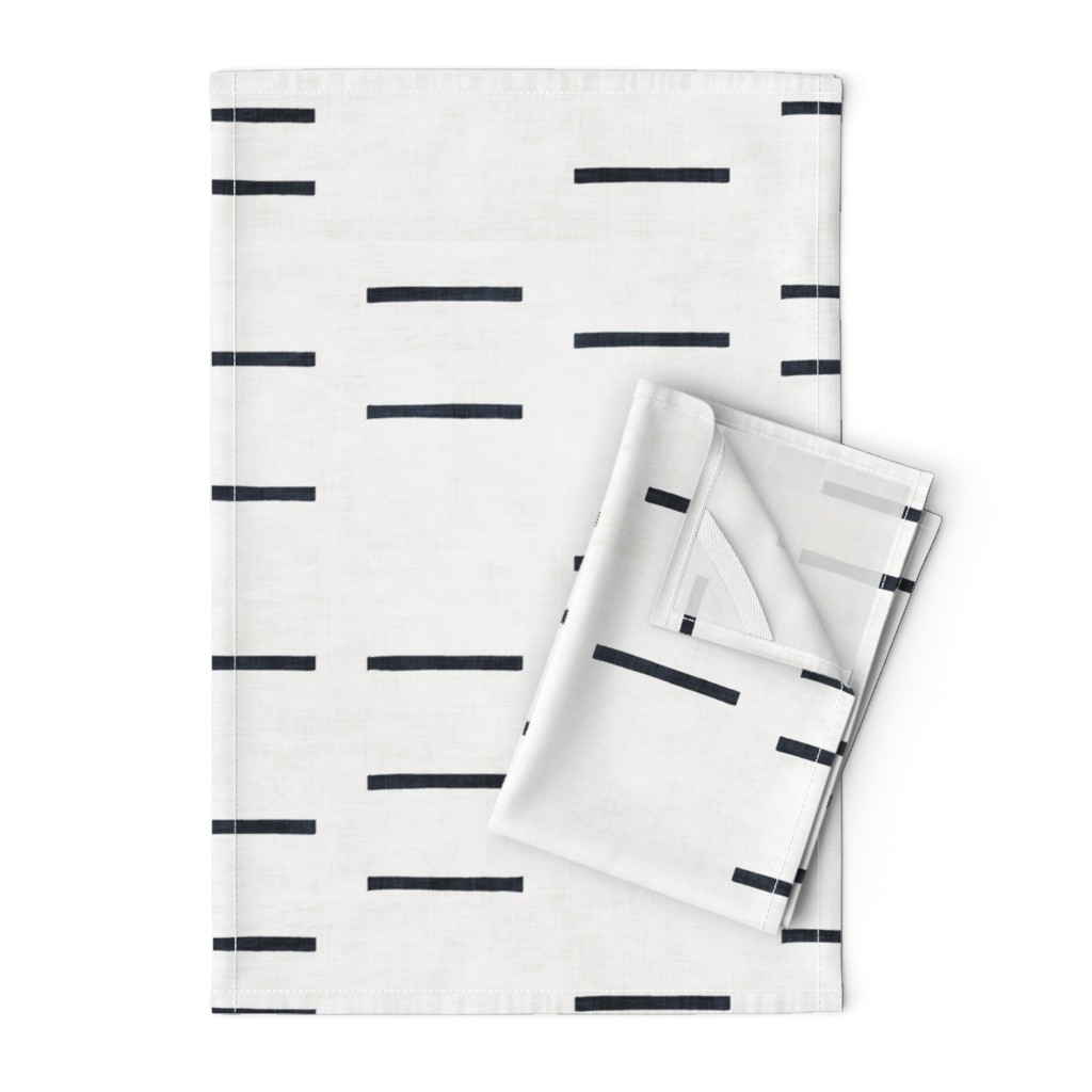 Orpington Tea Towels featuring DENIM LINE WHITE MUDCLOTH ROTATED by holli_zollinger