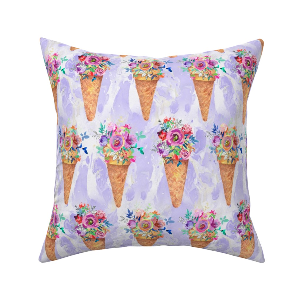 Catalan Throw Pillow featuring WATERCOLOR FLOWERS ICE CREAM CONES ROWS MARBLED VIOLET purple by floweryhat