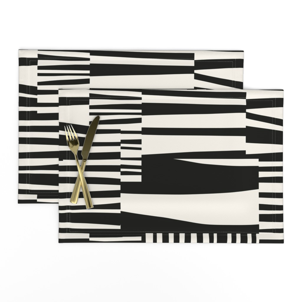 Lamona Cloth Placemats featuring Twiggy Stripes, black, cream by mapmapart