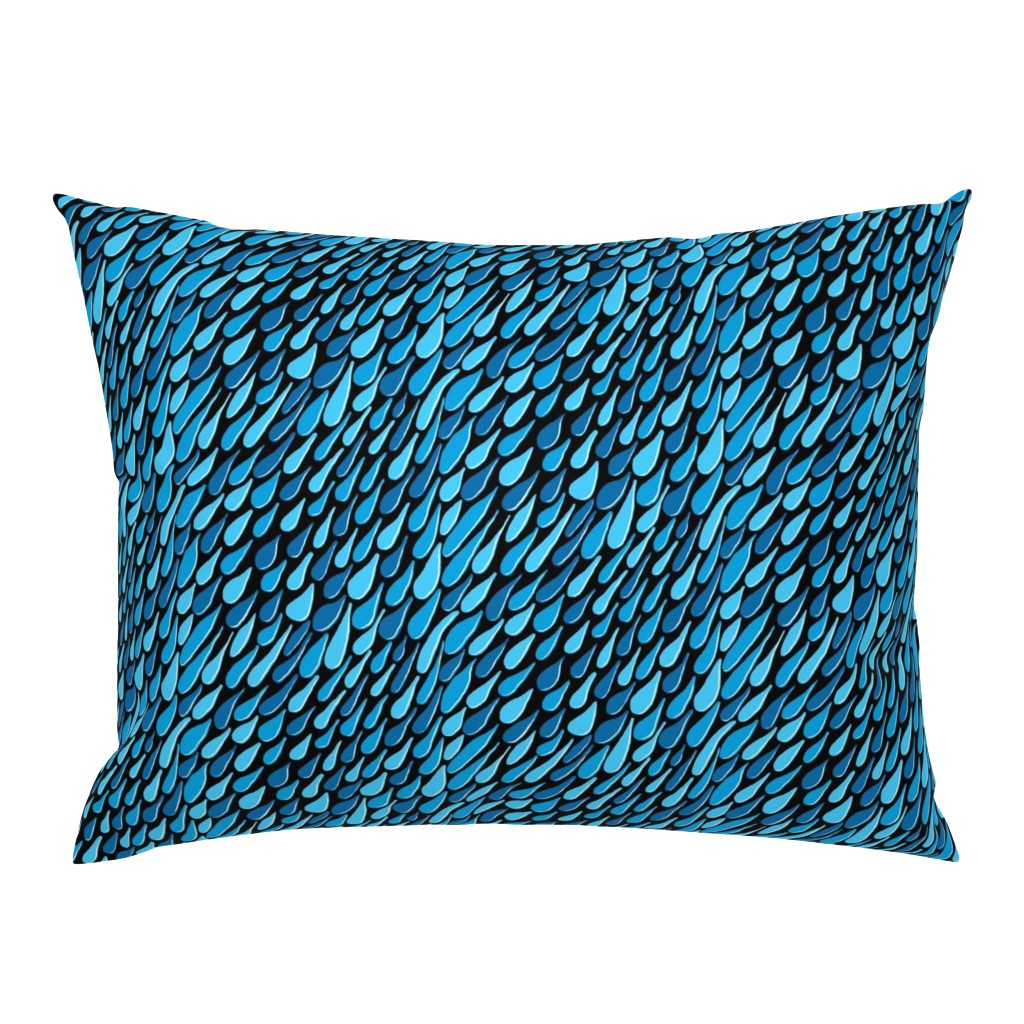 Campine Pillow Sham featuring monochromatic blue aqua teal turquoise navy rain, black background, large scale by amy_g