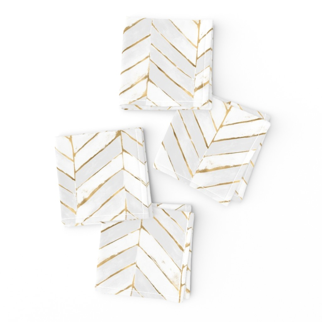 Frizzle Cocktail Napkins featuring chevron painted white gold by crystal_walen