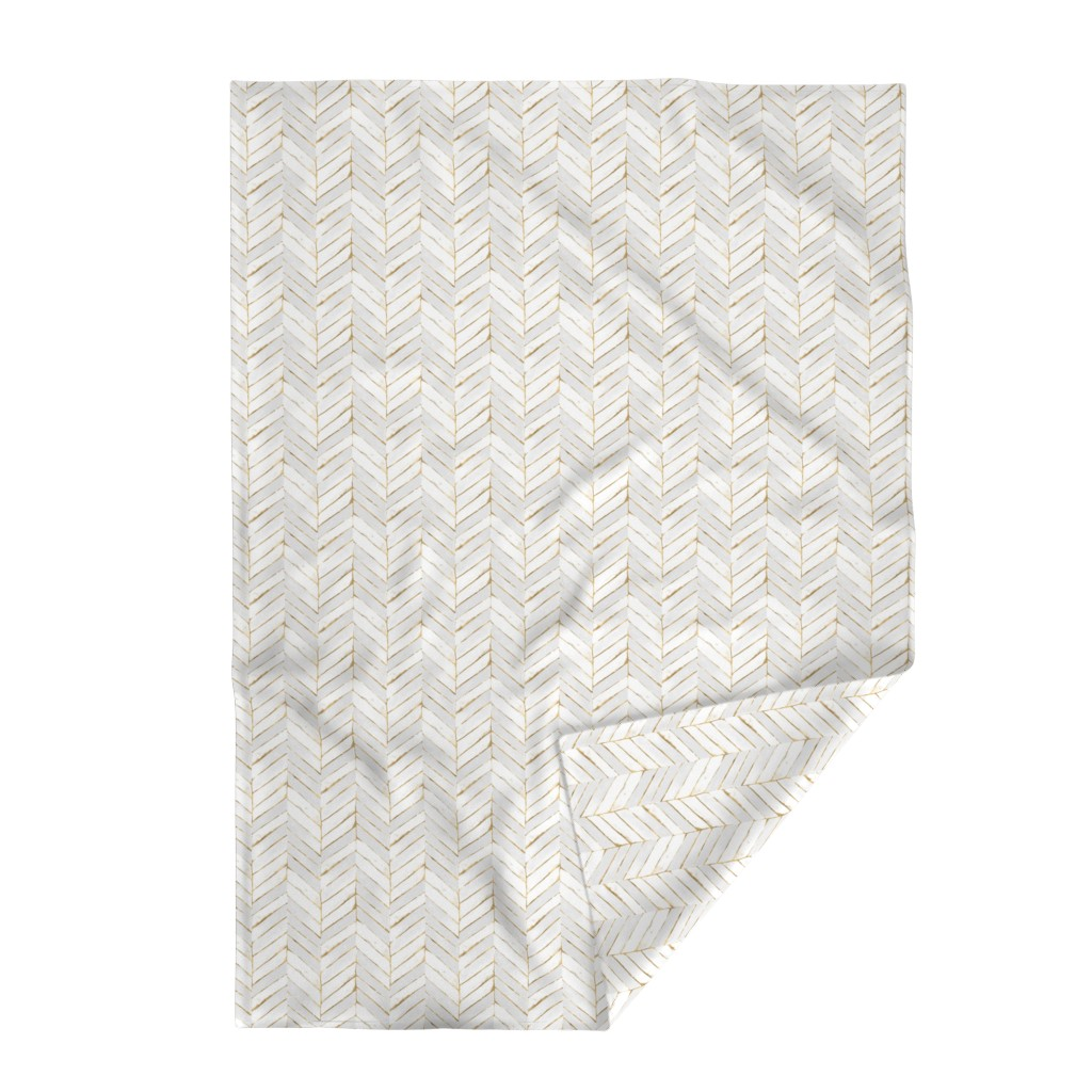 Lakenvelder Throw Blanket featuring chevron painted white gold by crystal_walen