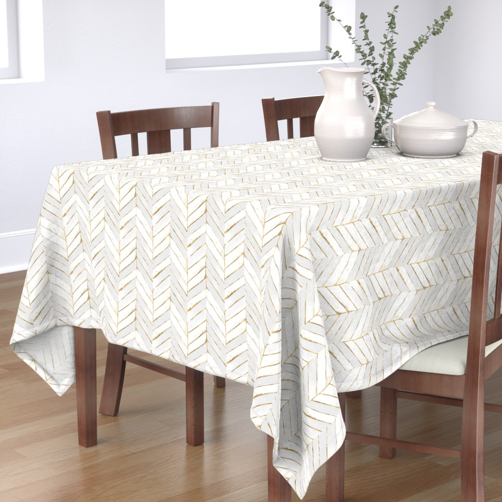 Bantam Rectangular Tablecloth featuring chevron painted white gold by crystal_walen