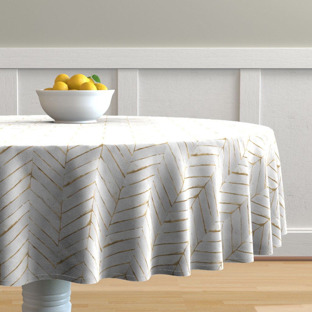 Malay Round Tablecloth featuring chevron painted white gold by crystal_walen