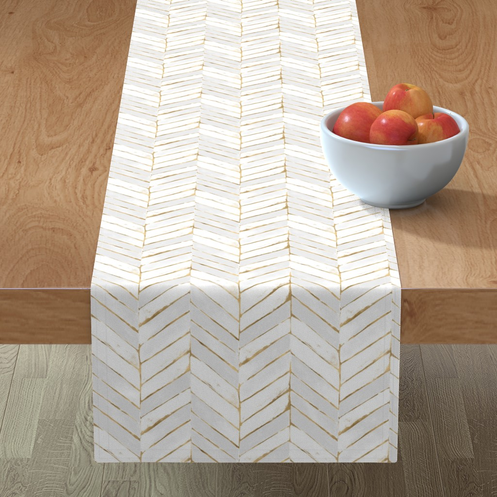 Minorca Table Runner featuring chevron painted white gold by crystal_walen