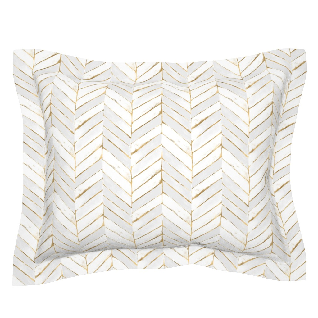 Sebright Pillow Sham featuring chevron painted white gold by crystal_walen