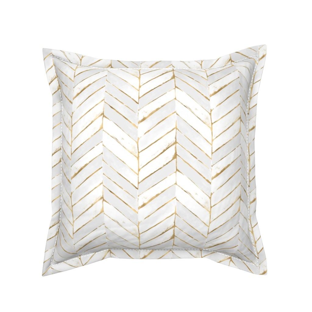 Serama Throw Pillow featuring chevron painted white gold by crystal_walen