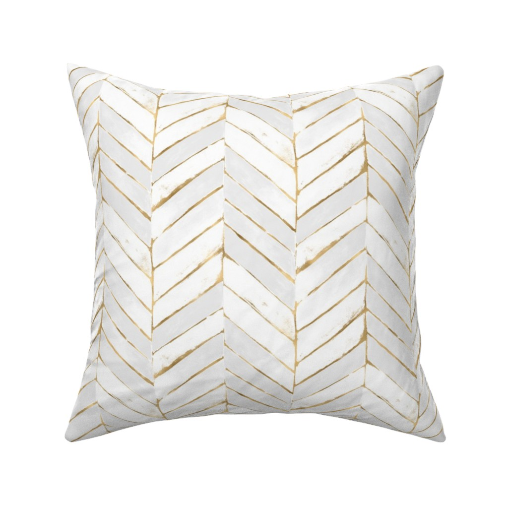 Catalan Throw Pillow featuring chevron painted white gold by crystal_walen