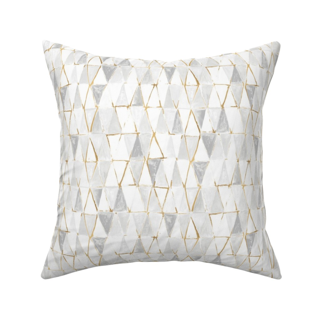 Catalan Throw Pillow featuring painted triangles - white + gold by crystal_walen