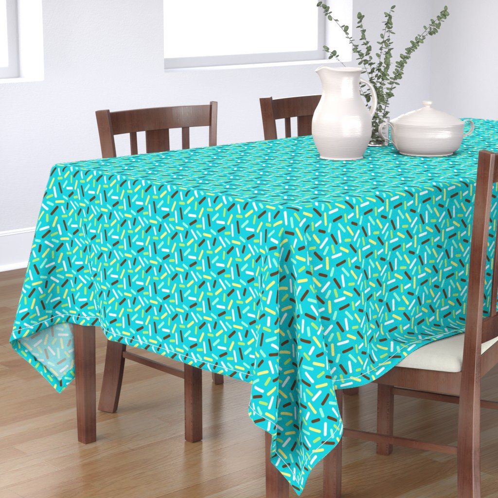 Bantam Rectangular Tablecloth featuring Boys Donut Sprinkle - Blue and Brown by heatherhightdesign