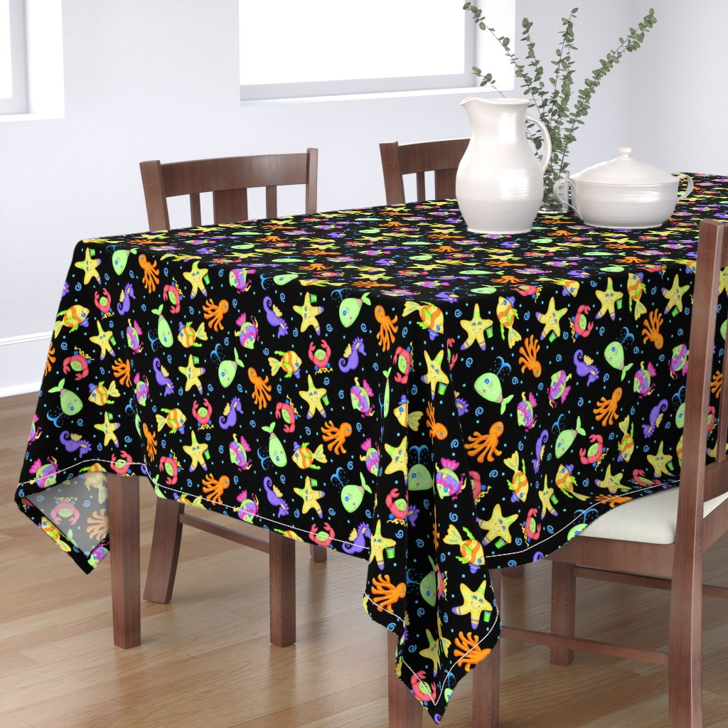 Bantam Rectangular Tablecloth featuring Kids Whimsy Sea Animals Black by phyllisdobbs