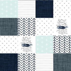 navy whale patchwork wholecloth