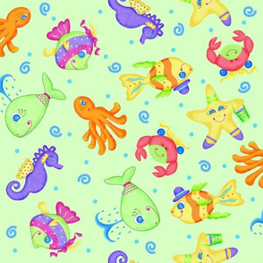Kids Whimsy Sea Animals Green