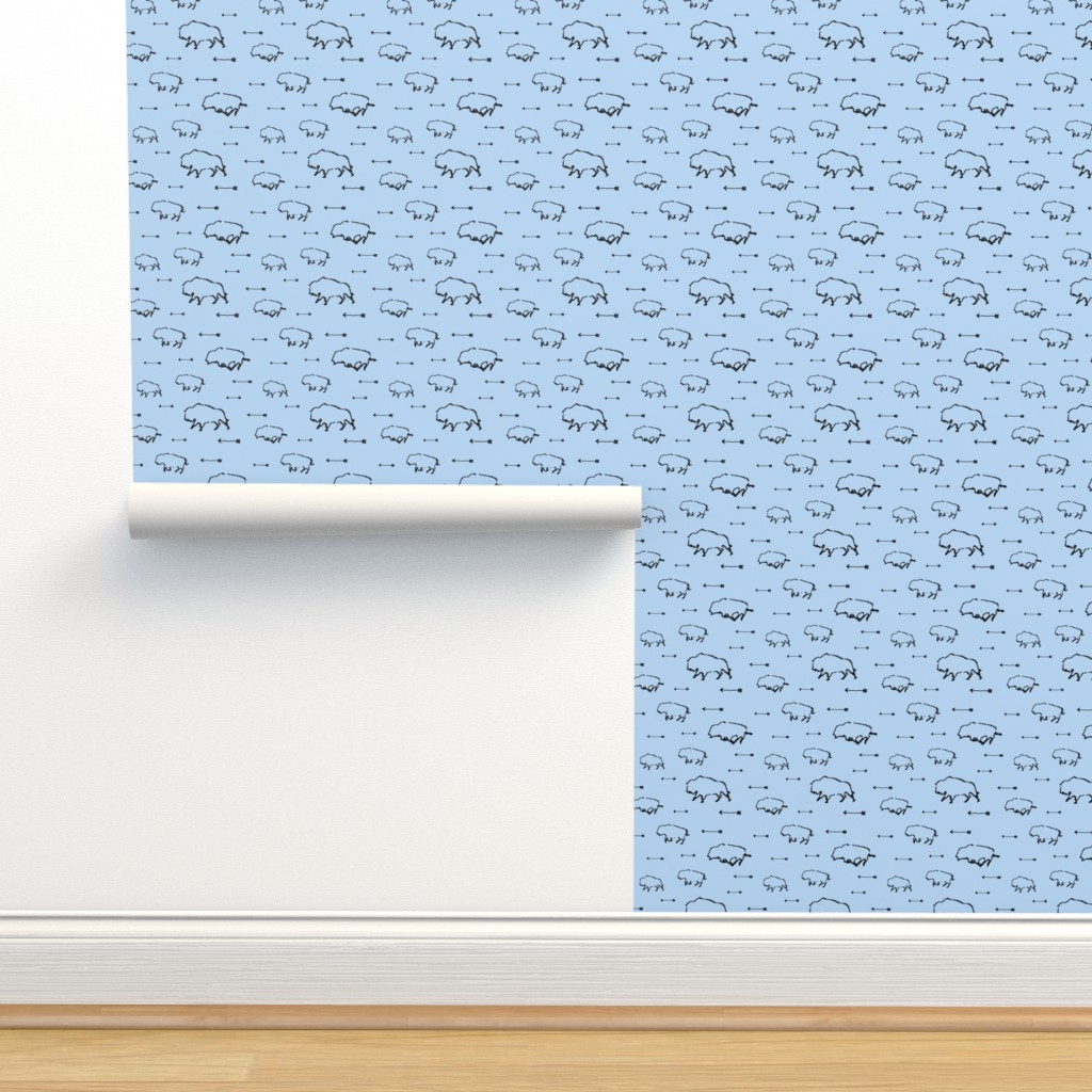 Isobar Durable Wallpaper featuring Buffalo Hunt // Light Blue // Small by thinlinetextiles