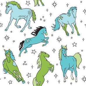 Sea Foam Sparkle Horses