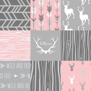 Custom Deer Patchwork - pink and light grey