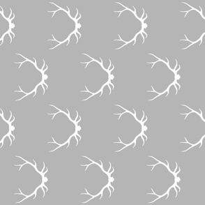 Antlers - white on grey ROTATED