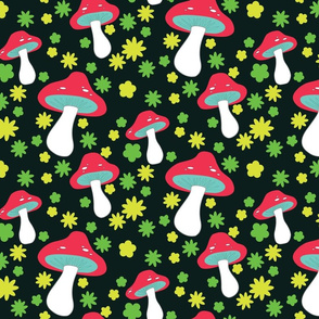 mushrooms on black