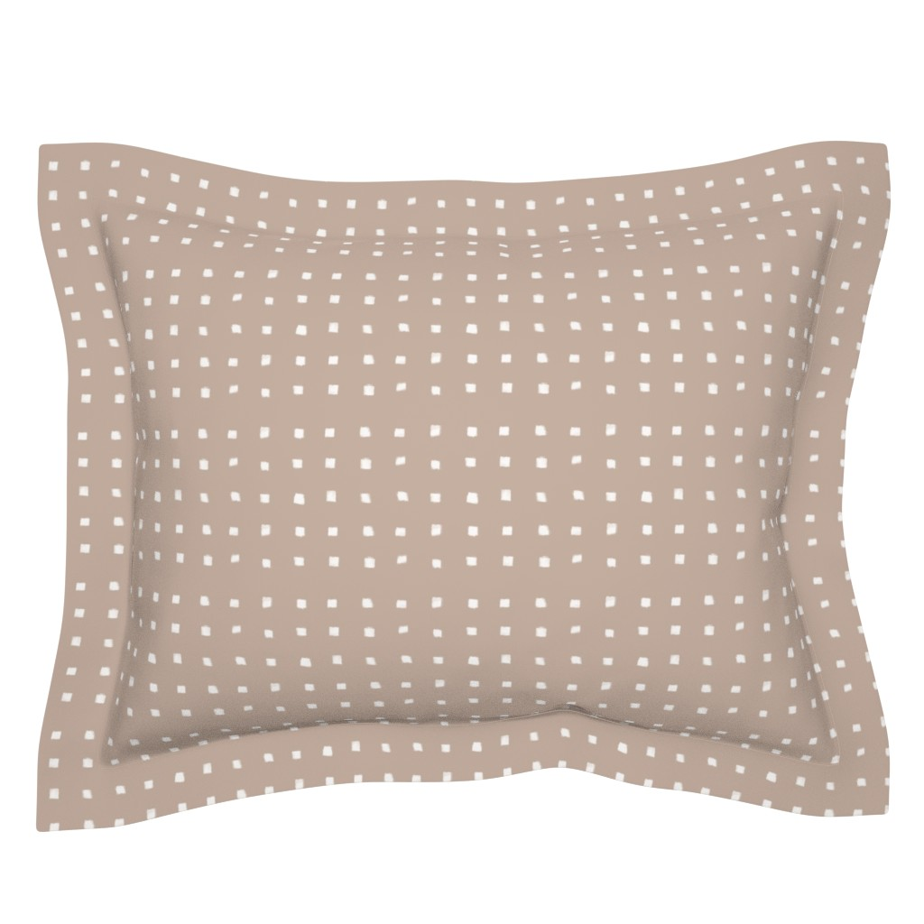 Sebright Pillow Sham featuring Polka Strokes Gapped Vertical White on Nude by form_creative