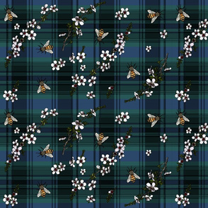 Manuka with bees on blue and green plaid