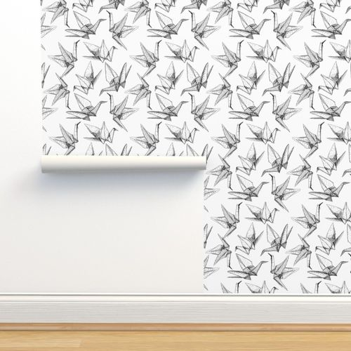Black and white cranes origami paper Make 100 paper decorations lilies