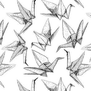 Origami paper cranes sketch black line on white background.