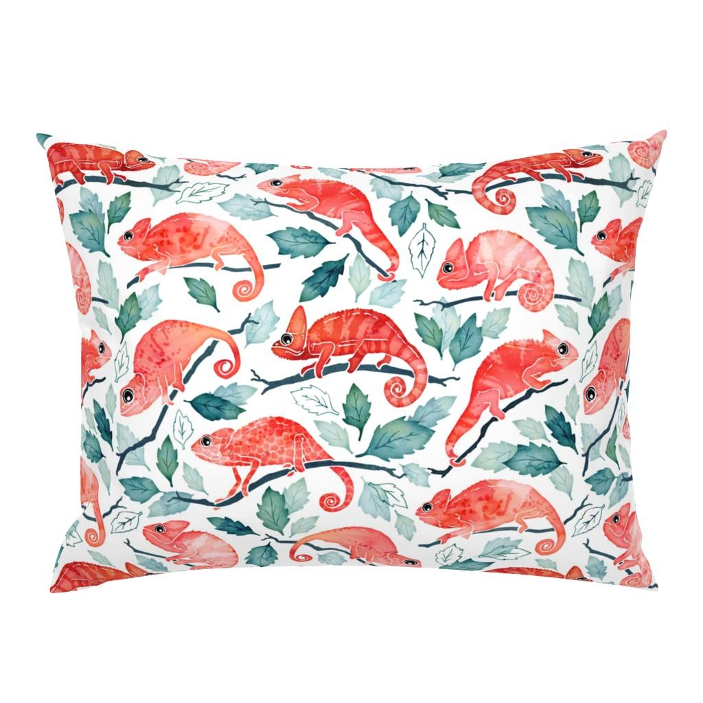 Campine Pillow Sham featuring Chameleon garden by adenaj