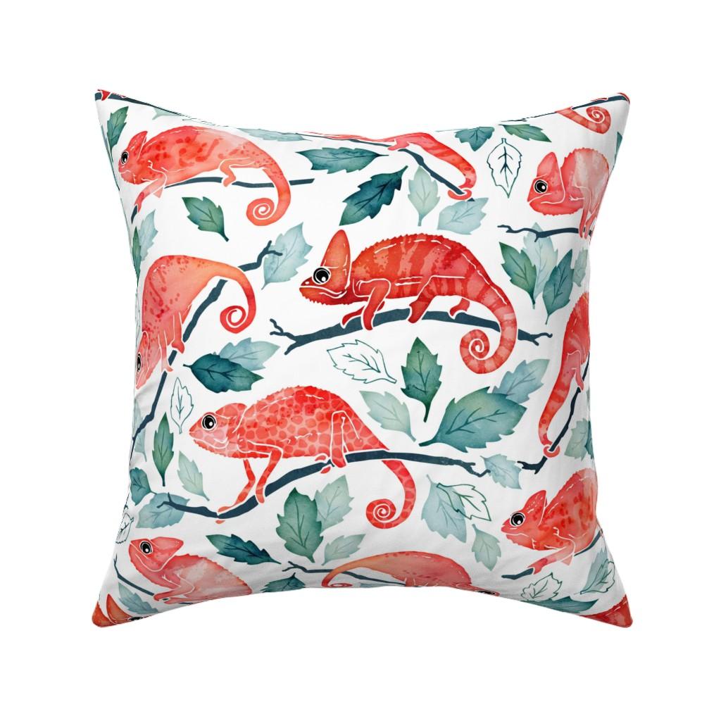 Catalan Throw Pillow featuring Chameleon garden by adenaj