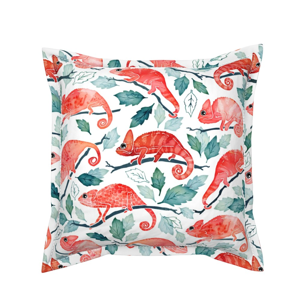 Serama Throw Pillow featuring Chameleon garden by adenaj