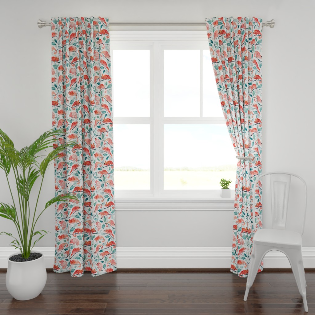 Plymouth Curtain Panel featuring Chameleon garden by adenaj