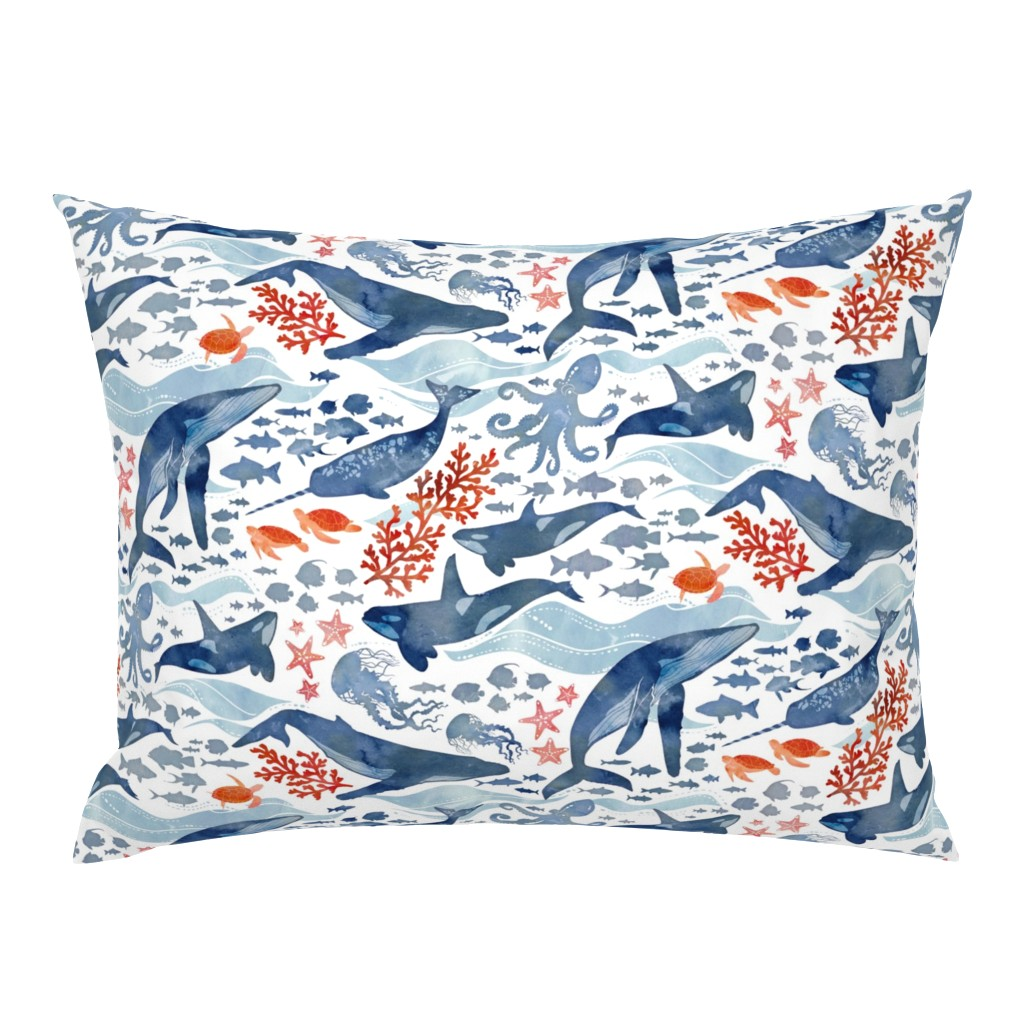 Campine Pillow Sham featuring Ocean life by adenaj