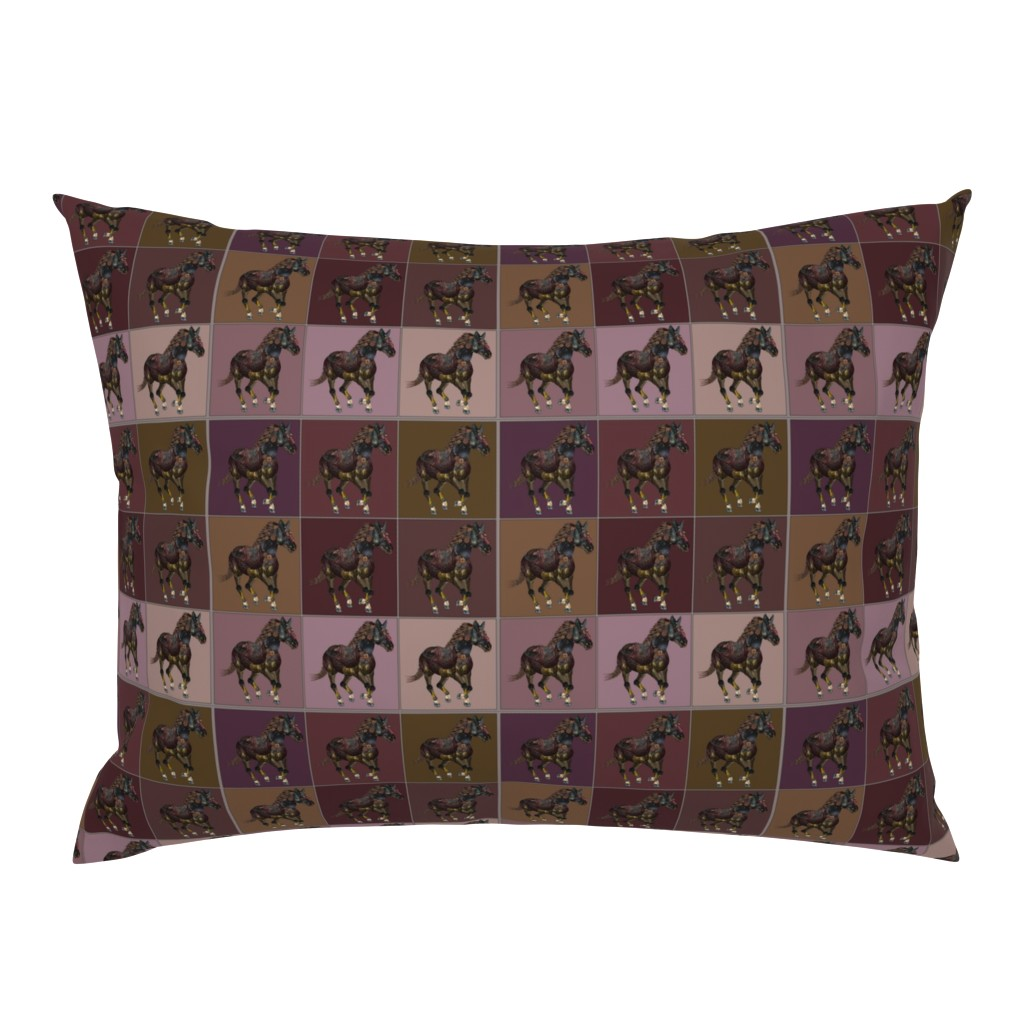 Campine Pillow Sham featuring Steampunk horses red by snarets