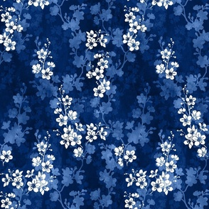 Cherry blossom in deep blue