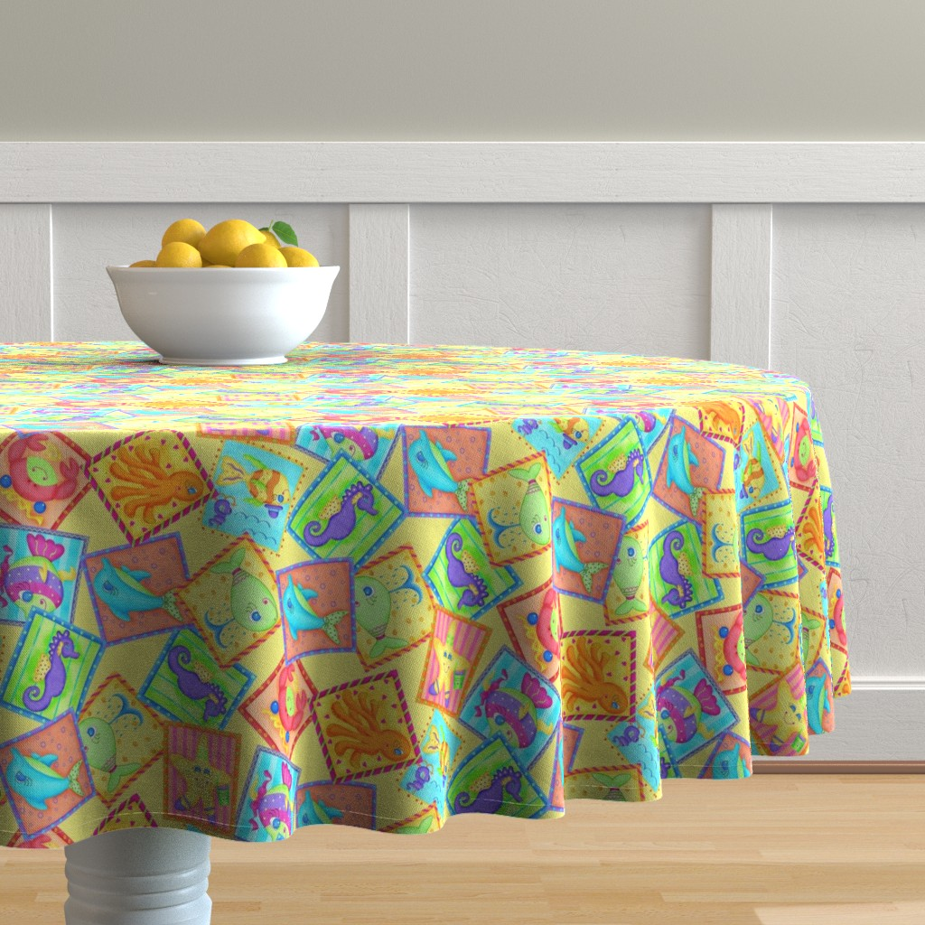 Malay Round Tablecloth featuring Kids Sea Animal Blocks Yellow Medium by phyllisdobbs