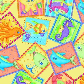 Kids Sea Animal Blocks Yellow Medium